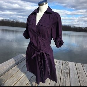 Converse wrap shirt purple dress with tie small